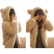 Womens Girls Cute Furry Bear Ears Hoodies Coats Thickened Winter Casual Jacket