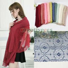Delicate Tulle Lace Soft Cotton Gauze Sheer Scarf Shawl Wrap Various Soild Color