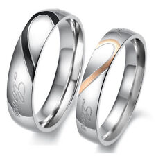 Heart Shape Matching Titanium Steel Lovers Promise Ring Couple Wedding Fashion