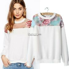 Hollow Sweatshirt Floral Printed Women Pullover Shirt Sweater White Hoodies ES9P