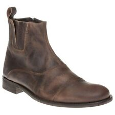 New Mens SOLE Brown Miner Leather Boots Chelsea Zip