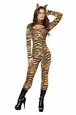 Genuine Roma Sexy Womens Adult Animal Sassy Tigress Catsuit Halloween Costume