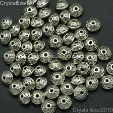 Vintage Patterned Tibetan Silver Bicone Spacer Loose Beads Carved Metal 4mm x7mm