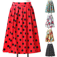 ❤Cotton ❤ Dots/Floral Rockabilly Retro 50s 60s Party Housewife Short Dress Skirt