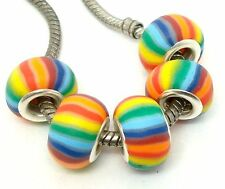 New!!! Fashion Rainbow Beautiful Clay Silver Core Beads Fit European Bracelet