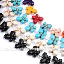 Strand Howlite Turquoise Gemstone 20mm Butterfly Loose Spacer Bead Charm Finding