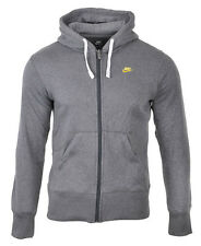 New Nike Mens Full Zip Hooded Jacket Sweatshirt Fleece Lined Hoodie Mid Grey Top