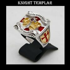 Knight Templar Masonic Ring 2tone 18K Gold Pld Cross & Crown -45 gr.