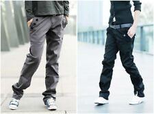 Men Slim Fit Double Waist Belted Stright Stylish Pants