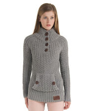 New Womens Superdry Orkney Henley Knitted Jumper Grey Marl