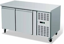 2 DOOR COMMERCIAL CATERING PREP FREEZER COUNTER STAINLESS STEEL