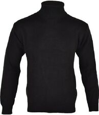 NEW MENS BLACK ROLL POLO TURTLE FUNNEL NECK LONG SLEEVE KNITTED WINTER JUMPER