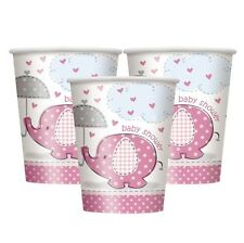 BABY SHOWER UMBRELLAPHANTS PINK GIRL PARTY SUPPLIES PAPER 9oz CUPS CHOOSE AMOUNT