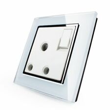 Wall Power Socket, Crystal Glass Panel, ON/OFF AC110~250V,15A Outlet UK Standard