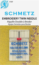 Schmetz 1737 Twin Embroidery Sewing Machine Needles 130/705H-E 15x1 Size 3.0/75