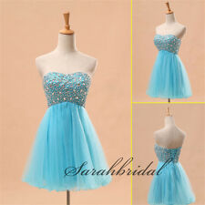 Beads Cheap Prom Party Mini Gowns Sky Blue Girls Short Homecoming Dresses 2014