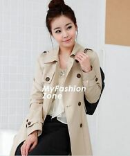 SMB Fashion Women Vintage Slim Fit Double Breasted Trench Coat Jacket WCOT250