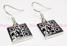Adult Naughty QR Code Message Dangle Earrings 316L Steel Use Scan App to Reveal