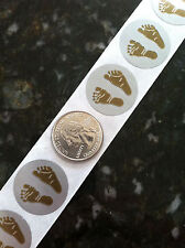 """1"""" inch GOLD BABY FEET SCRATCH OFF STICKERS LABELS TICKETS SHOWER GAMES FAVORS!"""