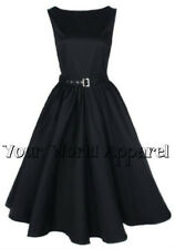 HEPBURN STYLE DRESS PLUS SIZE BLACK 1950's ROCKABILLY PINUP PROM RETRO SATIN