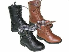 New Youth Girl Combat Riding Mid-Calf Boots With Side Release Buttons Sz 10-4