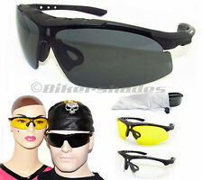 ANSI Z87 SAFETY Sun Glasses Motorcycle, Hunting, Cycling, Yellow Clear Smoke