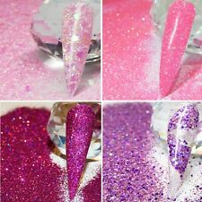 PINK GLITTER NAIL ART IRIDESCENT HOLOGRAPHIC CHUNKY FINE MIXES DISCS STARS