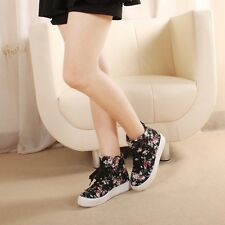 New Women's Thick Sole Floral Print Lace Up High Top Boots Sneakers Shoes