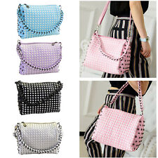 New Fashion Womens Weave Rivet Crossbody Messenger Handbag Chain Shoulder Bag