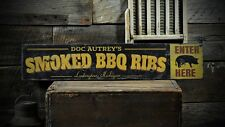 Custom Smoked BBQ Ribs City State Sign -Rustic Hand Made Vintage Wood ENS1000627