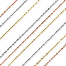 "14k Solid Yellow or White Gold 1 mm Thick Rope Chain - 13"" 15"" 16"" 18"" 20"" 22"""