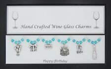 Happy Birthday Themed Set of Wine Glass Charms Gift Present Party Special