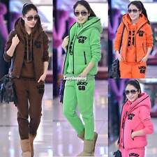 Winter Warm Women 3pcs Outfit Sports Hoodie Suit Tracksuit Hooded Coat+Vest+Pant