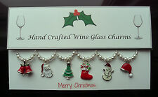 Silver Set of Christmas Wine Glass Charms Enamel Stocking Filler Present
