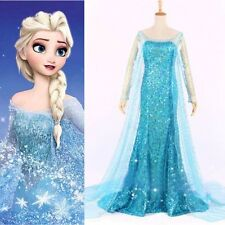Blue Sexy Womens Frozen Elsa Dress Flowery Tulle Costume Cosplay Adult S-L