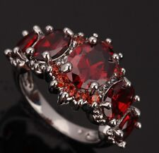 Fashion Jewelry Garnet Gemstones Silver Rings US#Size5 6 7 8 9 T0469