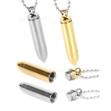 Stainless Steel Vial tube Bullet Cremation Ashes Urn Pill Case Pendant Necklace