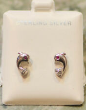 Sterling Silver Dolphin Stud Earrings Screw Back Red Eyes CZ Cubic Zirconia