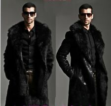 Men's Reversible Luxury Faux Fur Long Winter Warm Coat Jacket Outwear Overcoat