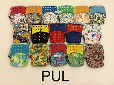 10 Happy Flute One Size (OS) All-In-One Cloth Diapers with 2 pockets