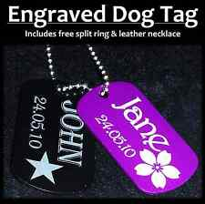 Aluminium Dog Tag With Personalised Engraving for Dogs, Cats, or as Necklace