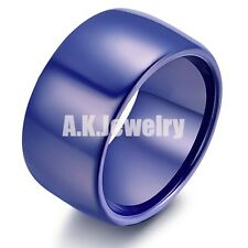 12MM Blue High Tech Ceramic Mens Width Pipe Wedding Band Ring Size 6 7 8 9 10 11
