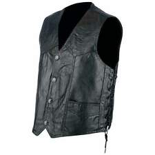 Mens Genuine Leather Motorcycle club Vest with laces Black    biker MC CUT