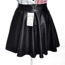 Black Women's Sexy Faux Leather High Waist Mini Skirt Pleated Dress Size M/L