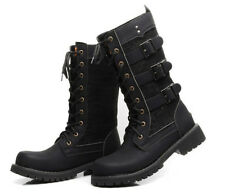 Mens Fashion Leather Lace up Combat Military Motor Biker Mid Calf Boots Shoes