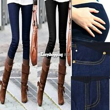 ES9P Womens Maternity Adjustable Waistband Skinny Pants Jeans Long Trousers Hot