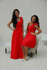 RED BRIDESMAID DRESS EVENING PROM LONG & SHORT 8-20 1 SHOULDER  WEDDING DRESS