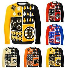 NHL 2014 Hockey Logo Ugly Christmas Sweater Busy Block Style - Pick Your Team!