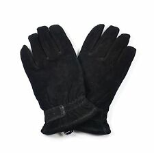 Croft & Barrow Leather Suede Winter Driving Gloves for Men - Black Faux Fur