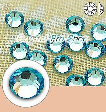 GENUINE Swarovski Aquamarine (202) Hotfix Rhinestone Iron On Round Crystal Gem